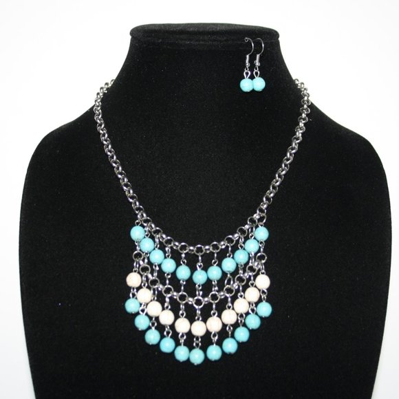 silver turquoise and white necklace earrings set
